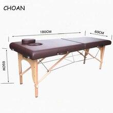 Meuble de spa en cuir PVC, en bois de hêtre, meuble de beauté, lit de massage portable pliable, patio de salon de beauté, 180cm x 60cm