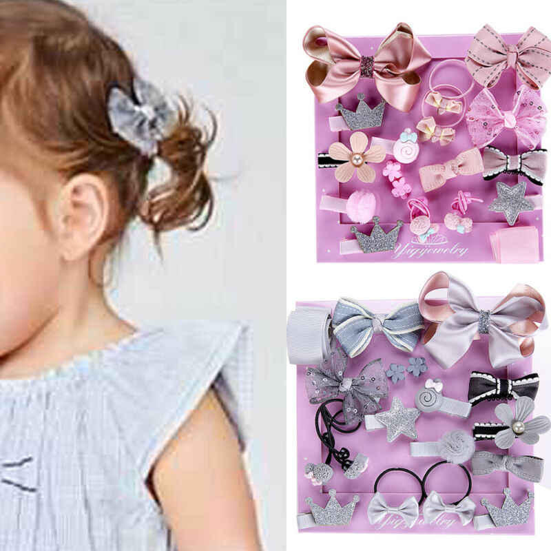 18pcs/Lot New Gift Box Packed Girls Cute Cartoon Elastic Hair Bands Headwear Scrunchies Rubber Bands Headbands Hair Accessories