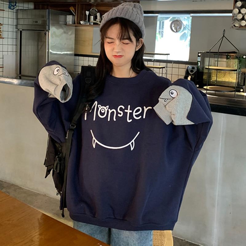 Female Korean Kawaii Stitched Letter Vintage Print Sweatshirt Women's Sweatshirts Japanese Harajuku Ulzzang Clothing For Women