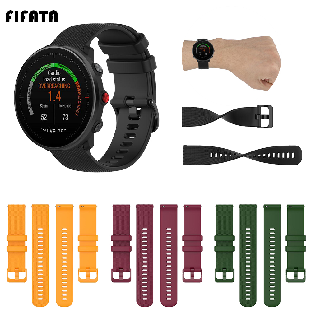 FIFATA 20 22MM High Quality Small Plaid Soft Silicone Watch Strap For Polar Vantage M/Ignite Smart Watch Replacement Wristband