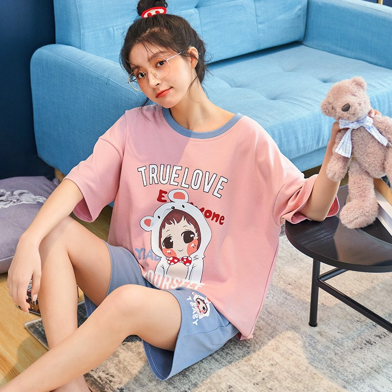 pajamas for women2021 pajamas women spring and summer short-sleeved knitted cotton Korean home clothing suit Nightgown