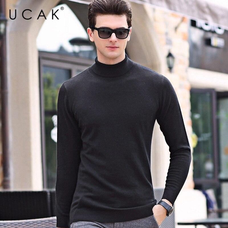 UCAK Brand Turtleneck Sweaters Men 2020 New Arrival Fashion Trend Wool Casual Solid Streetwear Spring Sweater Pullover Men U1049