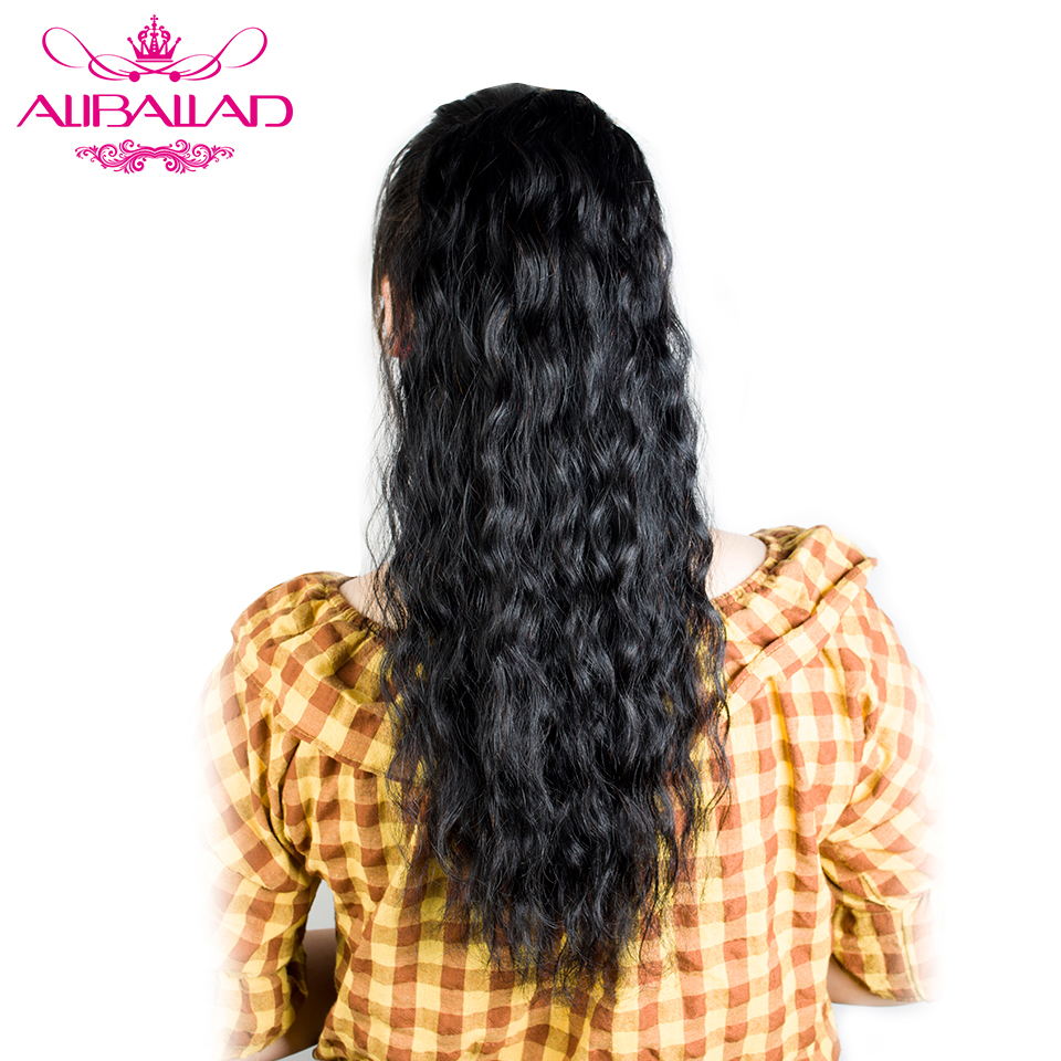 Aliballad Natural Wavy Drawstring Ponytail Human Hair Brazilian Afro Clip In Extensions Non-Remy Natural Color 2 Combs