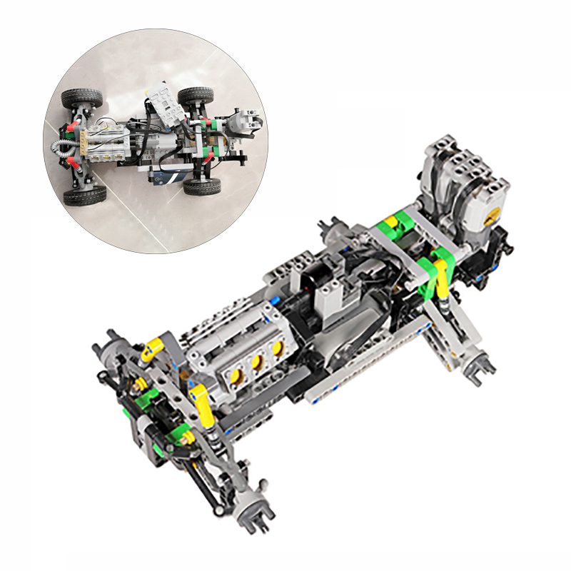 NEW MOC Steering Chassis Independent Wheel Suspension Mini Fake V8 Engine Speed Gearbox Compatib With Logos Technic For Off-Road