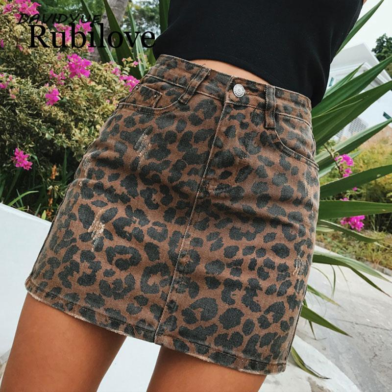 Rubilove Sexy ripped leopard print skirts womens mini denim skirt Street wear pencil high waist faldas 2019
