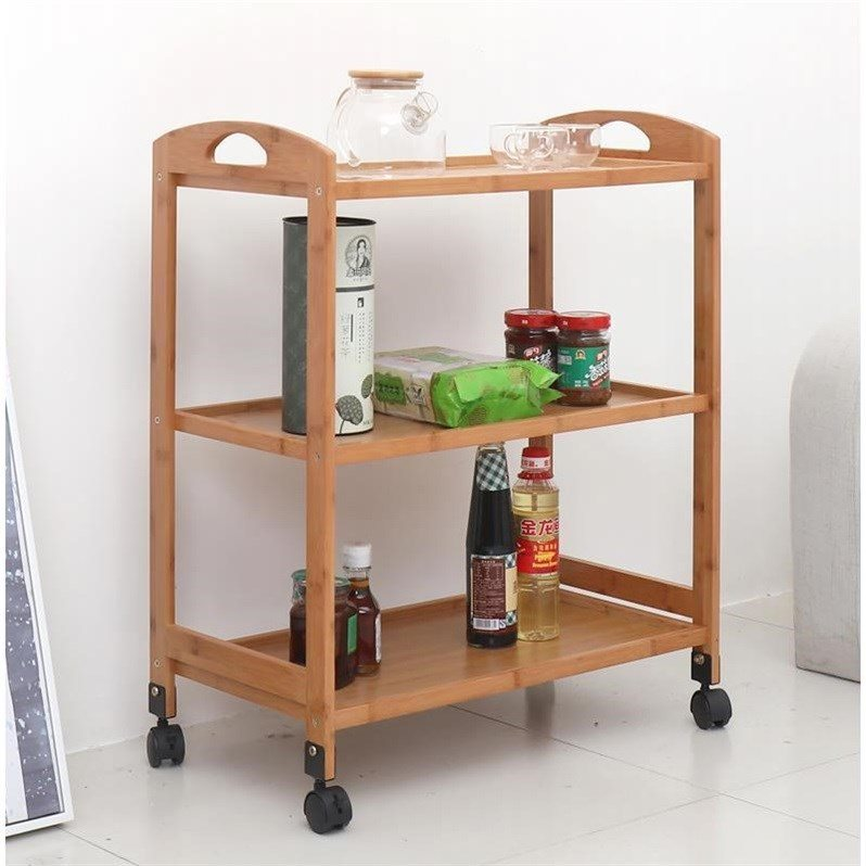 H1 Home Kitchen Dining Car Boutique Beauty Salon Car Hotel Tea Solid Wood Car Three-tier Mobile Trolley Wood  Metal Cheap