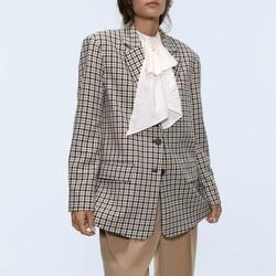 Female Ladies fashion clothing Plaid Single Breasted Blazers Women Fashion Houndstooth Jackets Elegant Pockets Long Sleeve Suits