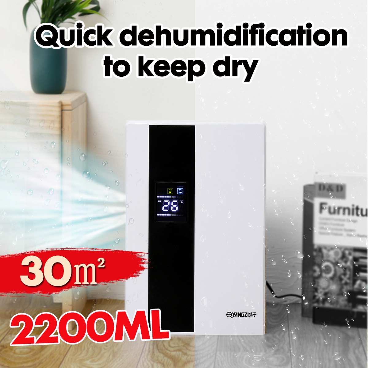 2.2L Smart Home Dehumidifier Large Screen LCD Display Air Dryer Automatic Bucket Full Shut-Off Purifier With Remote Control