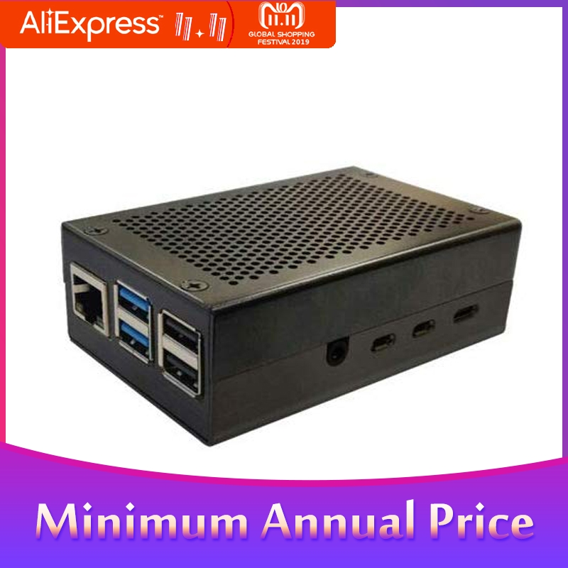 Aluminum Alloy Metal Case Cooling Heatsinks Black Silver Fit For Raspberry Pi 4 Metal Enclosure Protective Box Shell Case