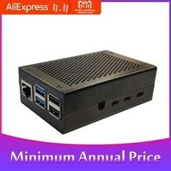 Liga de alumínio caso de metal refrigerar dissipadores de calor preto prata apto para raspberry pi 4 gabinete de metal caixa protetora caso escudo
