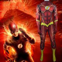 Disfraz de Flash 3D de LICRA para Halloween, traje de superhéroe, de licra, con sombra, para Halloween, traje completo, Zentai