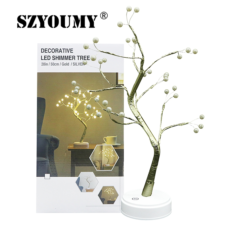 SZYOUMY 36 LED USB Fire Tree Light Pearl Table Lamps Night Light For Home Indoor Bedroom Wedding Party Bar Christmas
