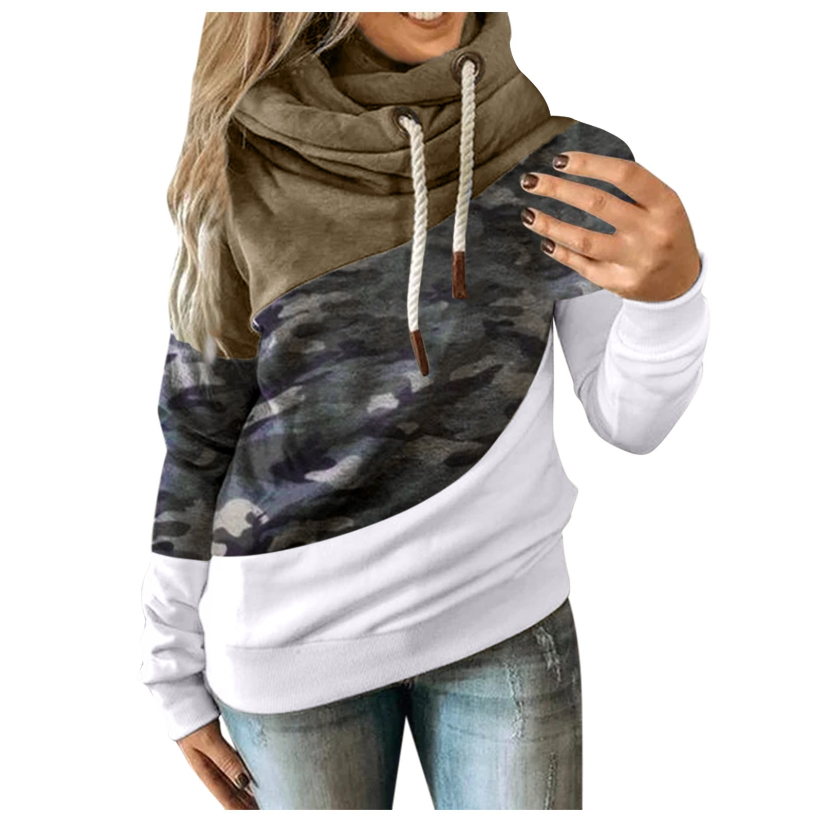 Hot Sale Women Casual Solid Contrast Long Sleeve Hoodie Sweatshirt Patchwork Printed Tops Sudaderas Mujer 2020 F Fast Ship 9