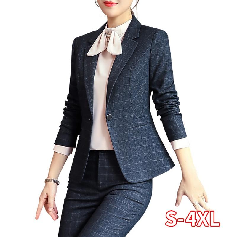 New Fashion Plaid Pants Suit Women Office Wear Business Formal Suit Long Sleeve Blazer Pant Office Ladies Plus Size Work Wear