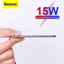 Baseus-cargador inalámbrico Qi de 15W para móvil, almohadilla de carga rápida de inducción ultradelgada para Xiaomi y Samsung, para iPhone 12, 11 Pro, XS, Max, XR