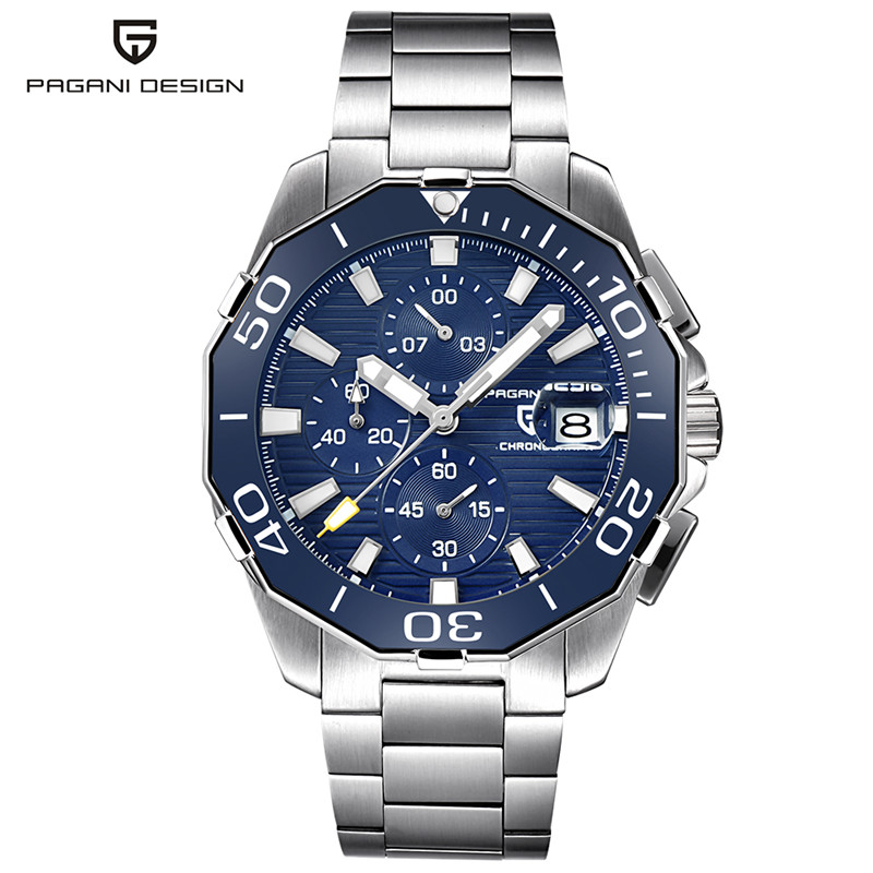 Pagani Design Quartz Watches men watch 47.3mm Luxury style Date blue dial Stainless Steel Chronograph Quartz  Watch Man Clock|Quartz Watches| |  - title=