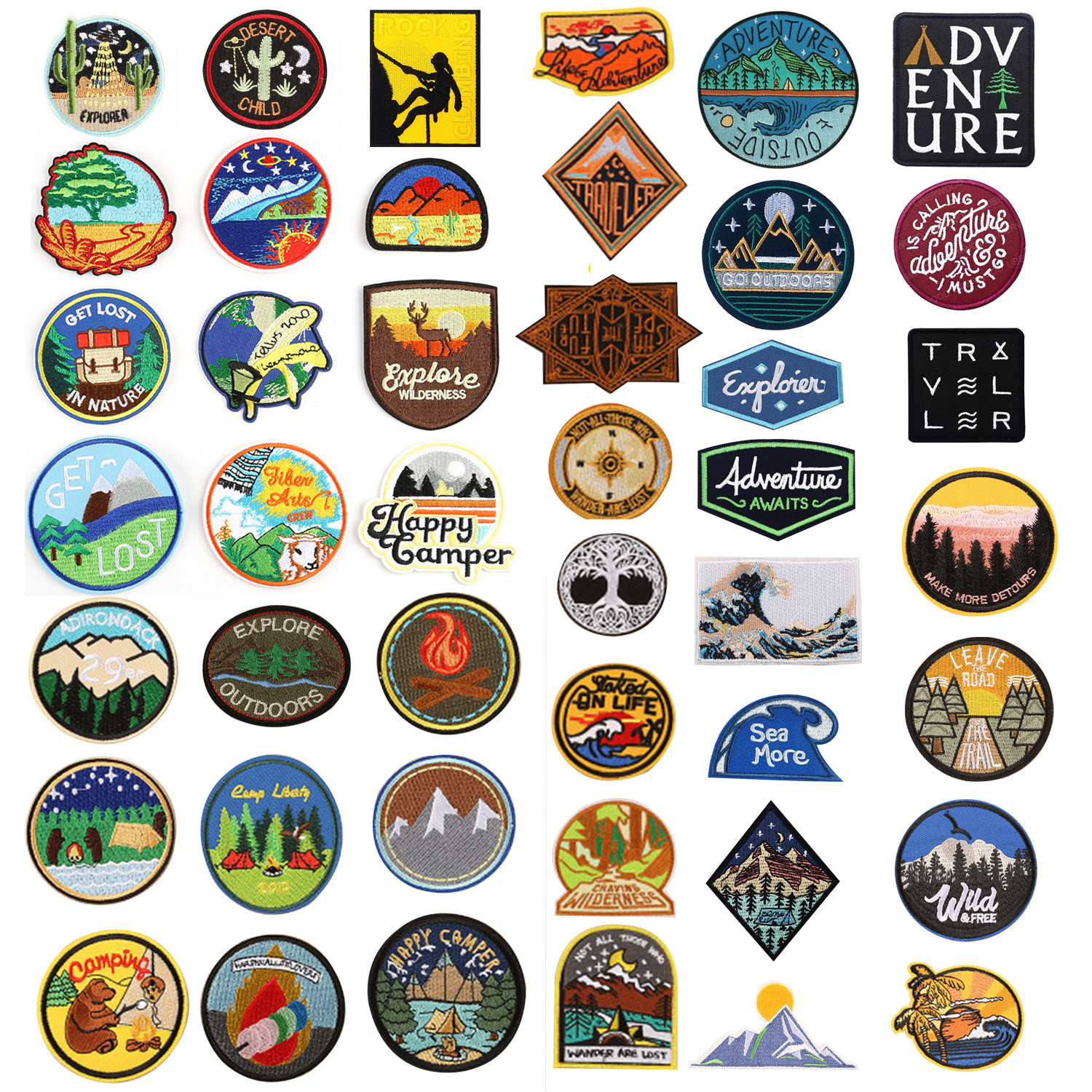 Explore Nature Camper Widness Get Lost Forest Patches Adventure Traveler Hiking Camping Applique Iron Sew Patch Badge Applique