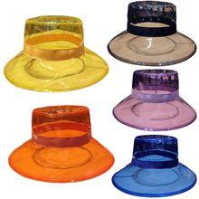 Bucket-Hat Transparent Breathable Sun-Visor Fisherman Wide-Brim Waterproof Solid-Color
