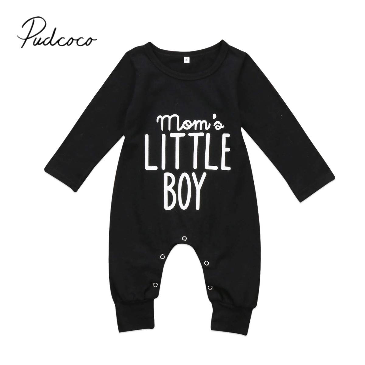 Pudcoco 2019 New Fashion Newborn Toddler Infant Baby Boys Romper Long Sleeve Jumpsuit Playsuit Little Boy Outfits Black Clothes