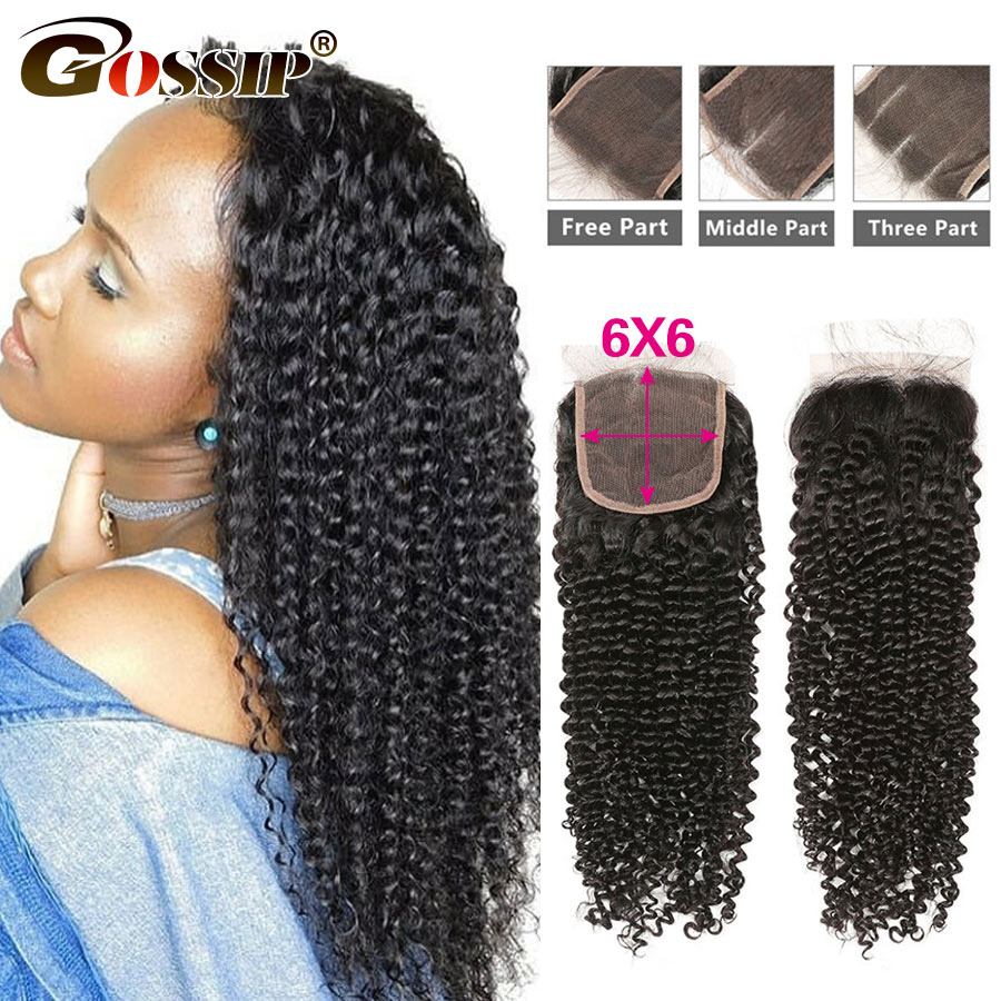 6x6 Lace Closure Brazilian Remy Hair Extensions Kinky Curly Closure Gossip Hair 100% Human Hair Closure 8-20 Inch Lace Closure