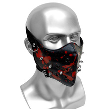 Black Party Punk Mask With Rivet PU Leather Mask Printing Men Women Hip Hop Masks Bar Stage Performance Masks new double steam punk mask steampunk mask gas masks daft punk mighty metal rivet respirator goggles vintage glasses land retro