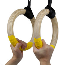 Anneaux de gymnastique en bois 2 pièces, entraînement à domicile, Fitness, tractions, exercices de force