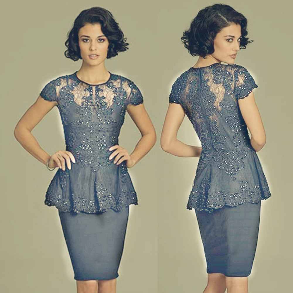 Fast Shipping In Stock Handmade Beading Pleat Lace Appliques O Neck Knee Length Short Sleeves Gray Evening Dress