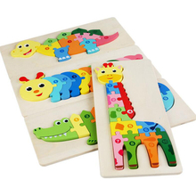 3d-Toys Jigsaw-Puzzle Wooden Animal Educational Kids Children for Cartoon