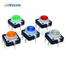 Bouton-poussoir Tactile momentané, 5 couleurs, LED 12x12x7.3mm, rouge, blanc, jaune, vert, bleu, 5 pièces/lot