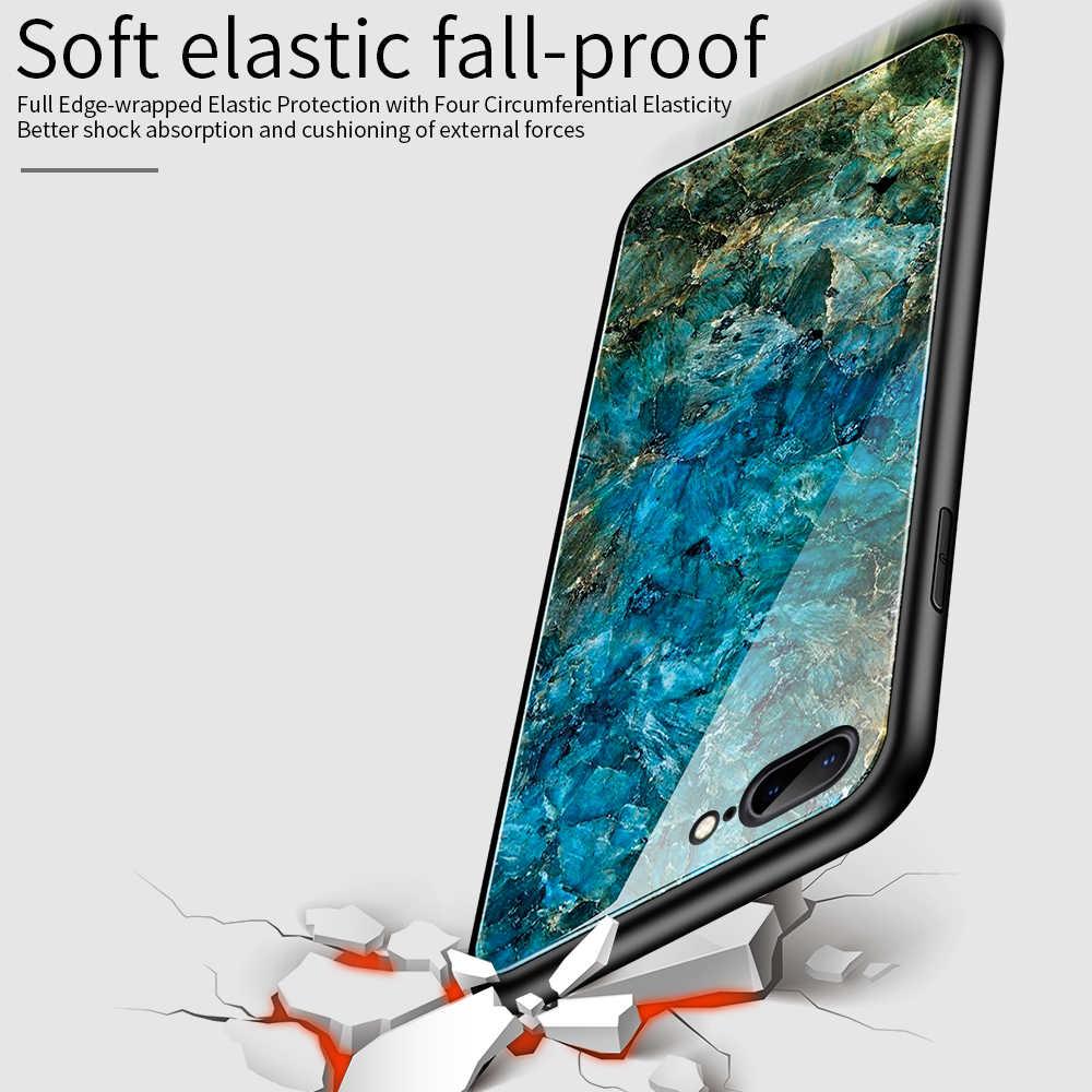 OTAO Gradiënt Gehard Glas Case Voor iPhone 11 Pro Marmer Back Cover Voor iPhone XS MAX XR X 8 7 6 6S Plus Case TPU Bumper Coque