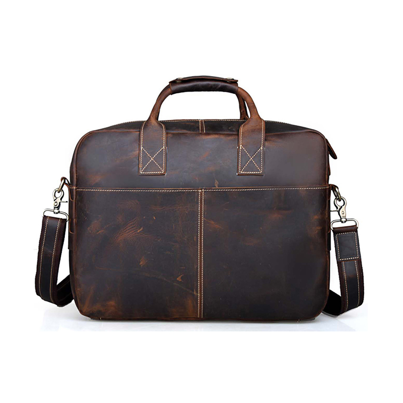 Luufan Men`s Briefcase Crazy Horse Leather Messenger Bag Vintage Brown Crossbody Laptop Handbag Top Quality