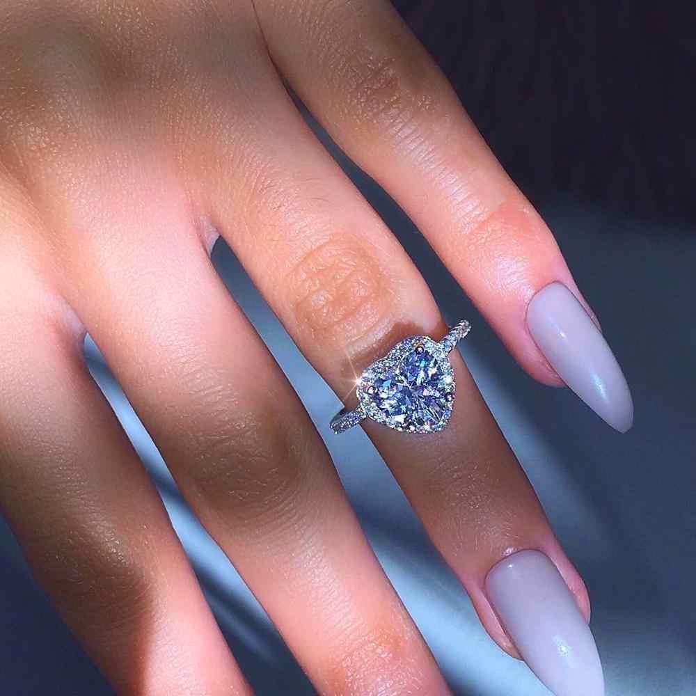โรแมนติกหญิงใหญ่ได้ยินแหวนคริสตัล Zircon หิน Vintage เงินคริสตัลแหวนสัญญาหมั้นแหวน