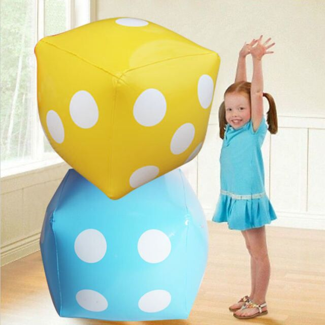 60CM Giant Inflatable Soft Cubes Dot Dice Children Outdoor Pool Toys Party Supply Inflatable Ballons Blow Up Beach Balls