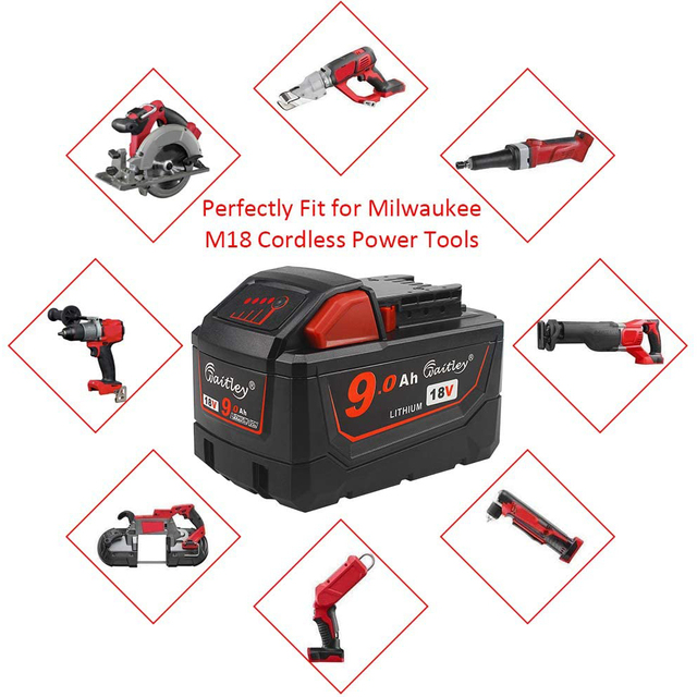 Batería de iones de litio de 9AH de 18V y 9000mAh de Waitley para Milwaukee Xc M18 M18B, herramientas inalámbricas, baterías
