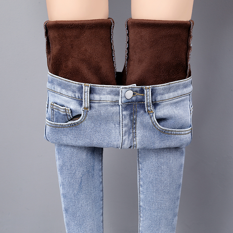 Winter Warm Jeans For Woman Winter High Waist Straight Plus Size Fleece Thick Jeans Women Denim Women's Trousers Female Jeans