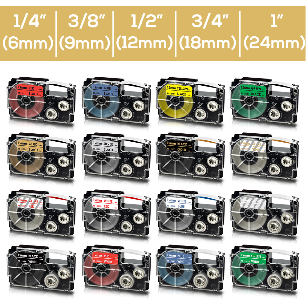 9//12//18mm XR-9WE 12WE 18WE Black on White Clear Label Tapes For Casio LabelMaker