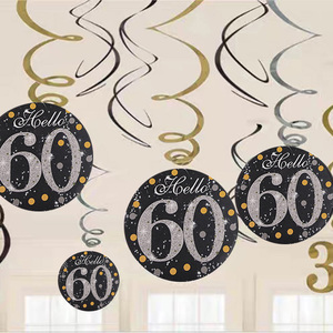 Image 2 - 6pcs 60Years Birthday Decoration Happy Birthday 30 40 50 60 70 Years Old Spiral Hanging Ornaments Birthday Party Decorations
