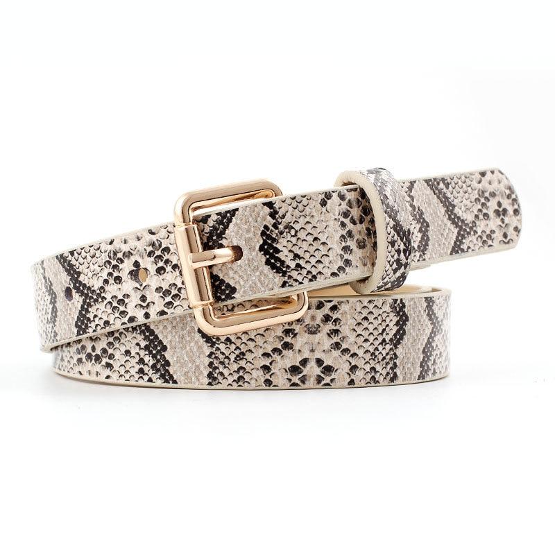 Women Snake Pattern Belt New Leather Waist Belt Female Casual Ladies Pin Buckle Belts For Women Jeans Belts Cinturon Femme Mujer