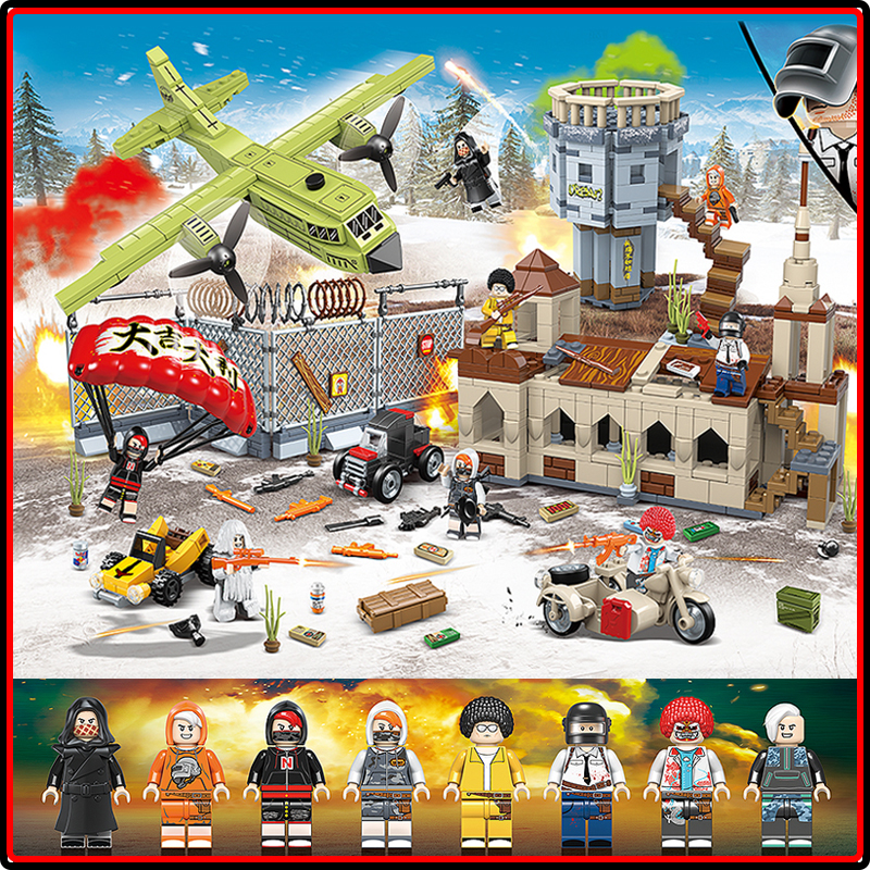 PUBG Toys Winner Winner Chicken Dinner Action Figures Military Soldiers Weapon Game Legoings Building Blocks Children Kids