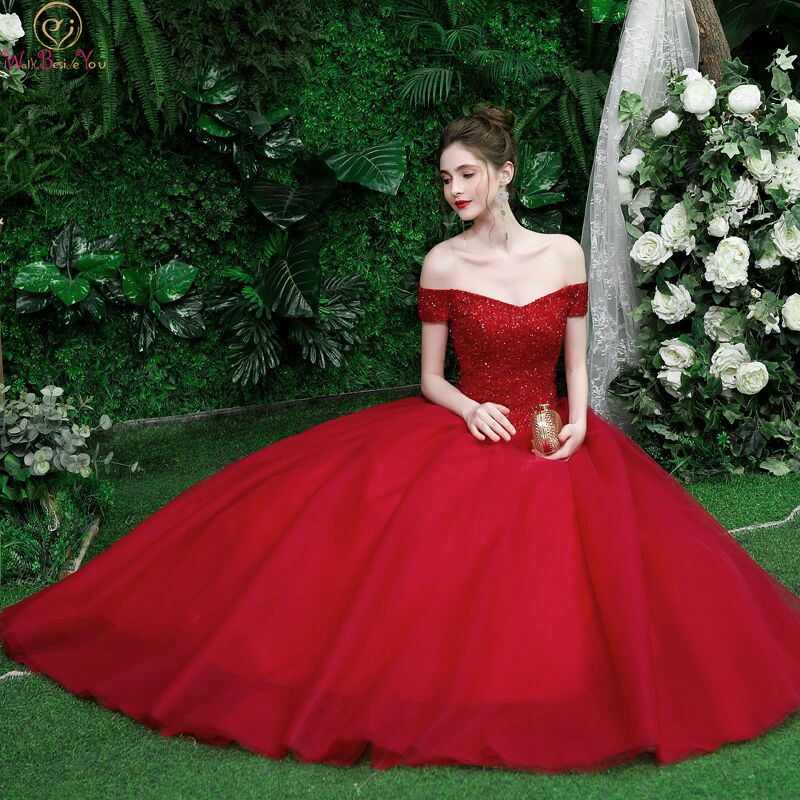 2019 Prom Dresses Beaded Women Burgundy  Wine Ff Shoulder Ball Gown Sweetheart Long Floor Length Evening Gown Walk Beside You