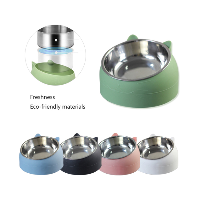 Non-slip Cat Dog Bowl 15 Degrees Tilted Safeguard Neck Puppy Cats Feeder Stainless Steel Crashworthiness Dish for Cat Pet Bowls 1