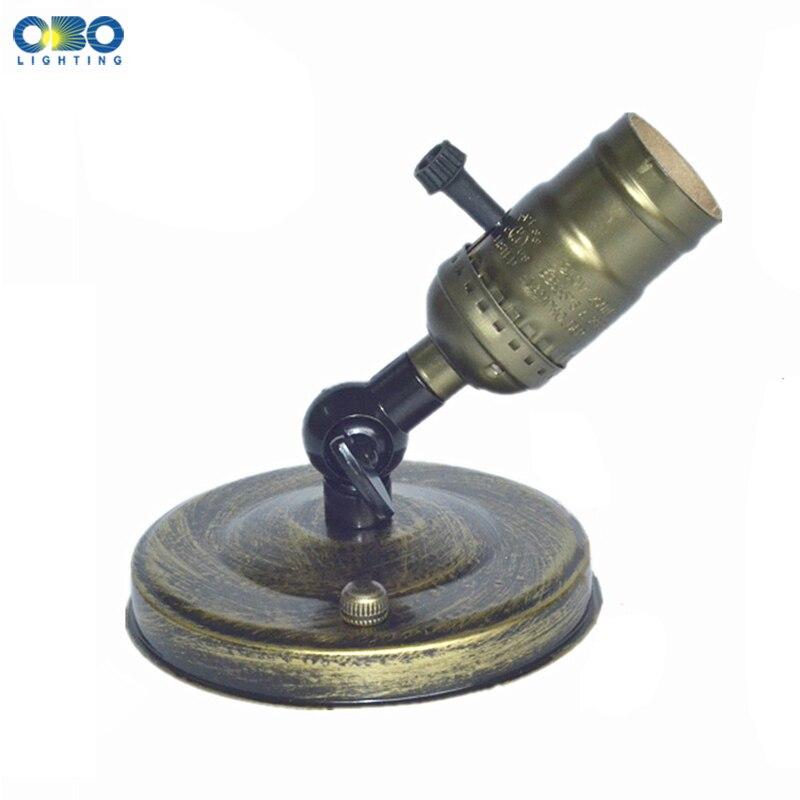 Vintage Lamp Base Edison E27 With Switch Bronze Wall Lamp Ceilling Lightlight DIY 110mm Base AC 110-240V