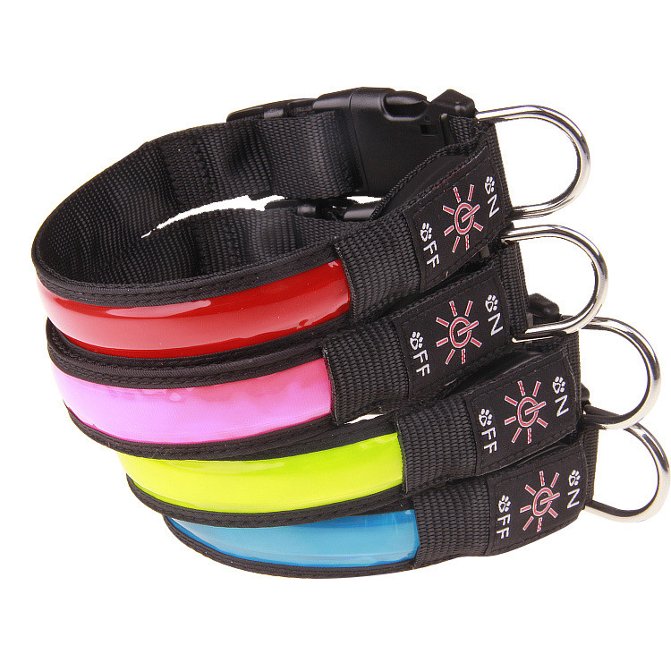 USB Charging LED Luminous Pet Collar Golden Retriever Teddy Collar Necklace Anti-Lost Dog Neck Ring Factory Price