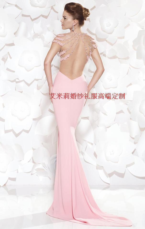 Free Shipping New Fashion Flower Vestido De Festa Formatura 2014 Sexy Backless Women Summer Dress Mermaid Pink Long Prom Dresses