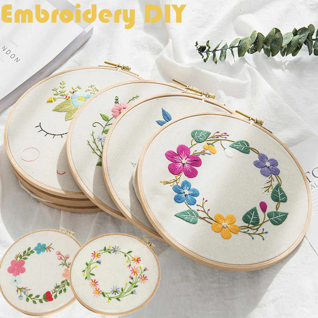 DIY 3D Embroidery Thread Starter Kit Fabric Set Cross Stitch Craft Cloth Tools