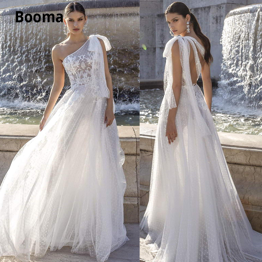 Booma 2020 Sexy One Shoulder Wedding Dresses Boho A Line Dot Tulle