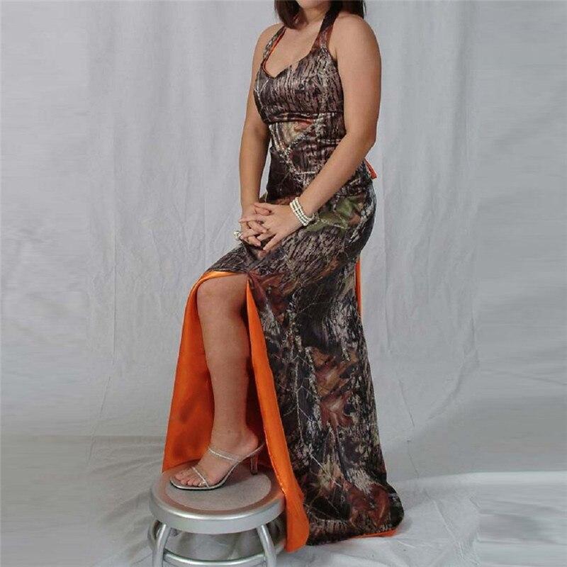 Halter Camo Bridesmaid Dresses Slim Sexy Split Camouflage Formal Honor Of Maid Real Tree Orange Plus Size Custom