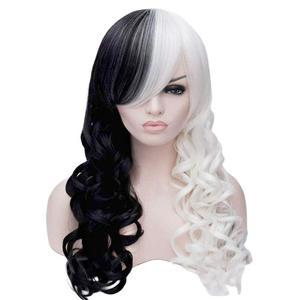 Image 4 - Anogol yepyeni Cruella Deville yan patlama yarım beyaz siyah katmanlı sentetik Cosplay peruk kadınlar için parti cadılar bayramı + peruk kap