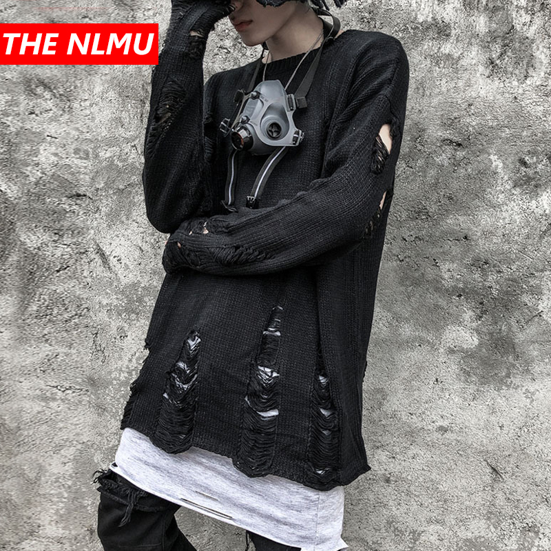 Sweaters Men Women Ripped Destroyed Holes Distressed Knitted Pullover Knitwear Male Hip Hop Fashion Loose Streetwear WG487