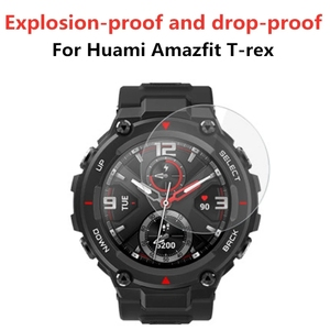 Image 2 - Tempered Glass Protective Film For Xiaomi Huami Amazfit T Rex Pro Smart Watch Screen Protector Cover For Trex T rex Pro
